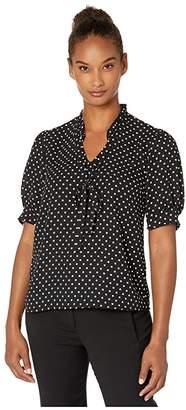 CeCe Short Sleeve V-Neck Heirloom Polka Dot Ruffle Blouse