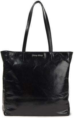 Miu Miu Cracked Glossed-leather Tote