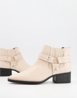 ASRA Mariana boots with harness detail in croc embossed bone leather
