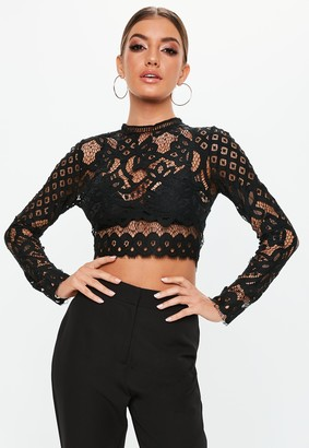 Missguided Black Lace Patterned Crop Top