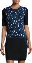 Trina Turk Leopard-Print Sweater Dress, Royal Blue