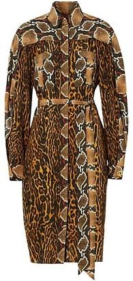 Burberry Leopard & Snakeskin-Print Silk Shirtdress