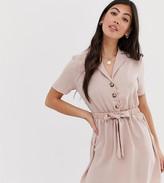 Miss Selfridge Petite shirt dress with belt in pink