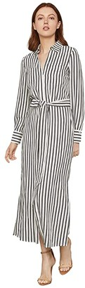 BCBGMAXAZRIA Stripe Tie Waist Dress (Black Combo) Women's Clothing