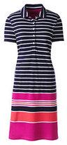 Lands' End Women's Petite Short Sleeve Mesh Polo Dress-Seafoam Blue Multi Stripe