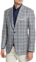 Brioni Plaid Two-Button Silk-Blend Jacket, Black/White