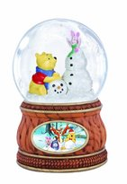 "Precious Moments Precious Moments, Disney Showcase Collection, ""Pooh And Piglet With Snowman"", Musical, Resin/Glass Snow Globe, #131705"