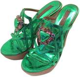 Lerre Green Leather Heels