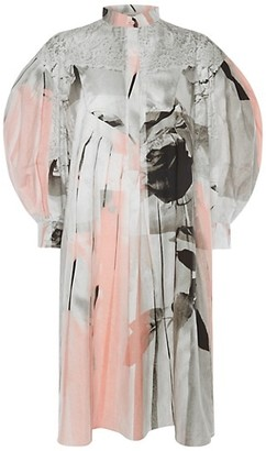 Alexander McQueen Rose-Print Poplin Blouson Sleeve Dress