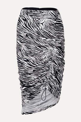 Commission - Ruched Zebra-print Stretch-jersey Skirt - Zebra print