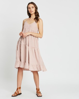 Atmos & Here Checked Tiered Dress