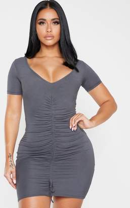 PrettyLittleThing Shape Charcoal Jersey Ruched Cap Sleeve Dress