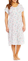 Miss Elaine Plus Floral Luxe Knit Long Nightgown