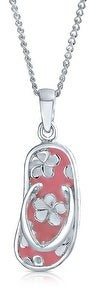 Bling Jewelry Beach Flip Flop Sandal Pink Pendant CZ 925 Sterling Silver Necklace