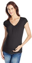 Michael Stars Women's Maternity Supima Short Sleeve Scoop Neck with Shirring