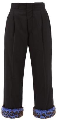 Maison Margiela Leopard-print Cuff Padded Wool Trousers - Black Multi