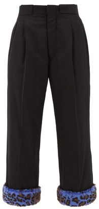 Maison Margiela Leopard Print Cuff Padded Wool Trousers - Womens - Black Multi
