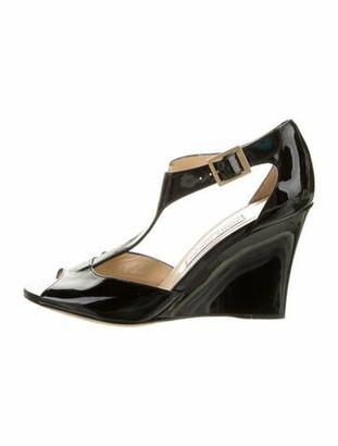 Jimmy Choo Patent Leather T-Strap Sandals Black