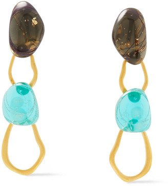 EJING ZHANG Tilda 18-karat Gold-plated Resin Earrings
