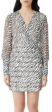 Maje Ribane Zebra Print Mini Dress