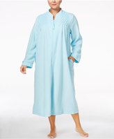 Miss Elaine Plus Size Zip-Front Brushed-Back Terry Robe