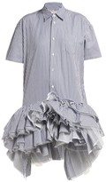 Junya Watanabe Striped Ruffled Tulle-tier Cotton Shirtdress - Womens - Blue Multi