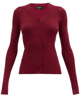 Rochas V-neck Logo-applique Ribbed Wool Cardigan - Burgundy