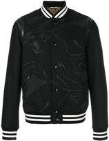 Valentino panther print bomber jacket - men - Cotton/Lamb Skin/Polyester/Virgin Wool - 46