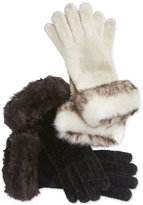 Charter Club Chenille and Faux Fur Gloves, Only at Macy's