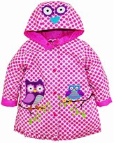 "Wippette Little Girls' Toddler ""Owls on Branches"" Rain Jacket - pink"