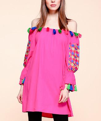 Simply Boho La Simply Boho LA Women's Casual Dresses FUSCHIA - Fuchsia Embroidered Tassel-Accent Off-Shoulder Dress - Plus