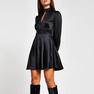 River Island Womens Black long sleeve split front skater dress