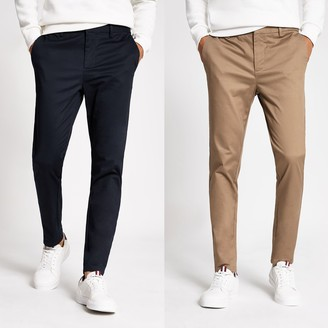 River Island Mens Navy skinny chino trousers 2 pack