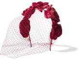 Jennifer Behr Floral-appliquéd Velvet Veiled Headband - Red