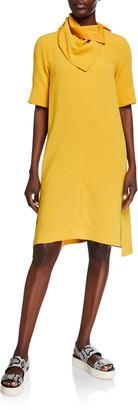 3.1 Phillip Lim Short-Sleeve Crepe Dress w/ Removable Scarf