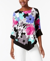 Alfred Dunner Petite Printed Top with Necklace