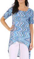 24/7 Comfort Apparel Asymmetrical Swirl Tunic Top