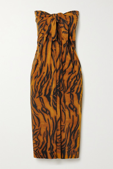 Thumbnail for your product : Norma Kamali Ernie Tiger-print Jersey Pareo - Brown