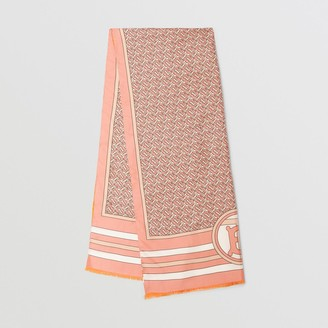 Burberry Reversible Monogram Print Silk Scarf