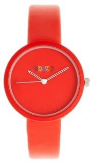 Crayo Unisex Blade Red Leatherette Strap Watch 37mm