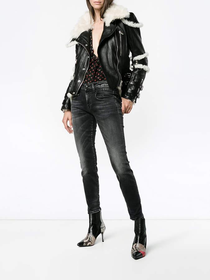 Alexander McQueen shearling trim jacket