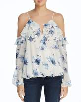 Aqua Floral Cold-Shoulder Ruffle Top - 100% Exclusive