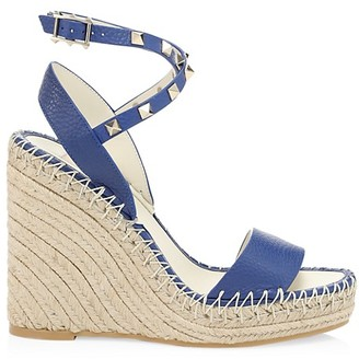 Valentino Rockstud Snake-Embossed Leather Espadrille Wedges