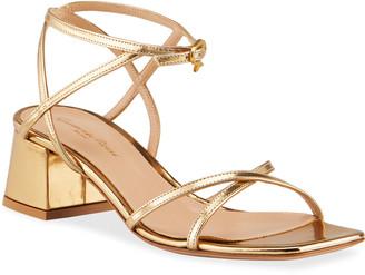 Gianvito Rossi Metallic Crisscross Ankle-Strap Sandals