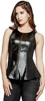 GUESS Darci Faux-Leather Peplum Top