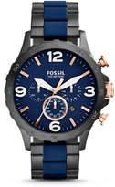 Fossil Nate Chronograph Black & Blue Stainless Steel Watch