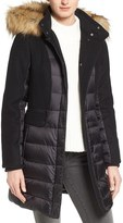 1 Madison Women's Mixed Media Faux Fur Trim Hooded Down Coat