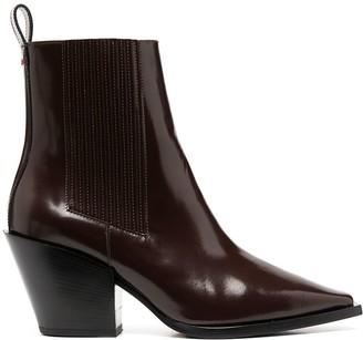 AEYDĒ Heeled Slip-On Leather Boots