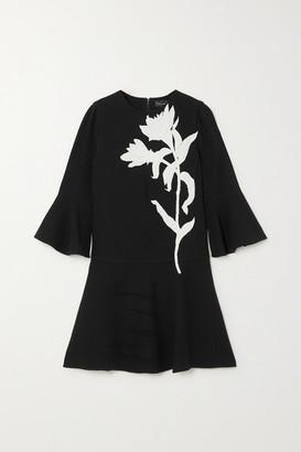 Oscar de la Renta Appliqued Wool-blend Mini Dress - Black