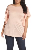 Sejour Plus Size Women's Cutout Ruffle Sleeve Top